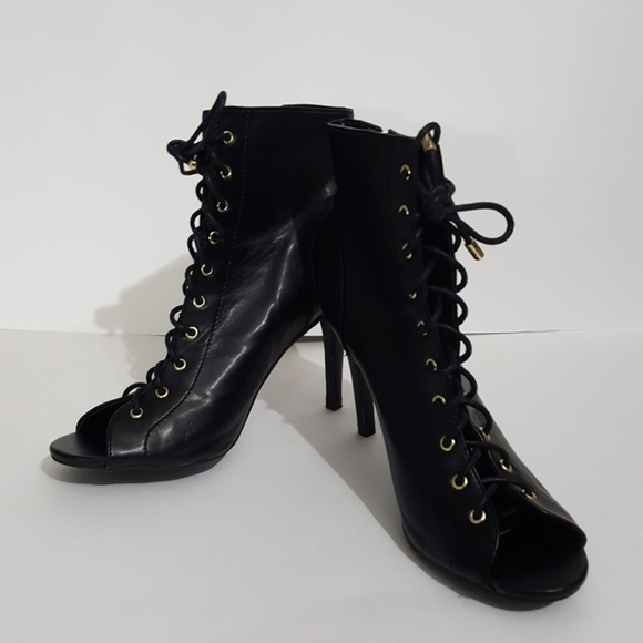 Cato Shoes - Black lace up heeled shoes
